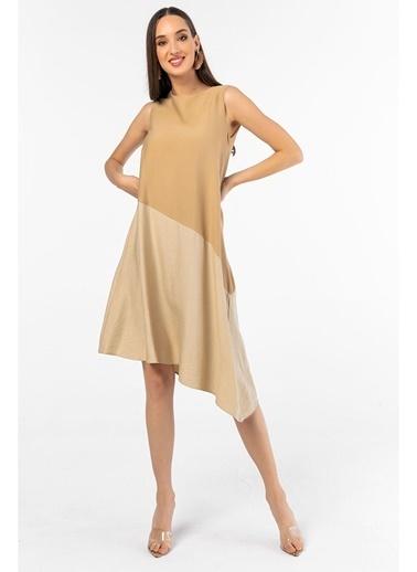 Tiffany&Tomato Asimetrik Kalın Keten Midi Elbise Vizon